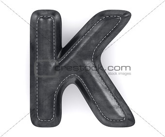Black leather skin texture capital letter K