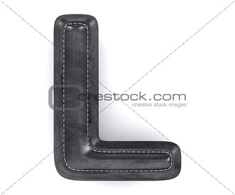 Black leather skin texture capital letter L