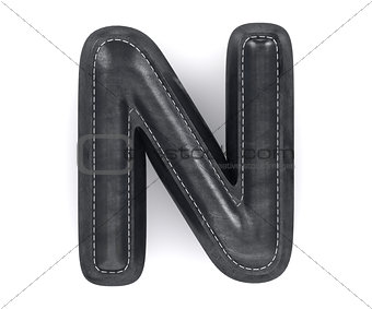 Black leather skin texture capital letter N