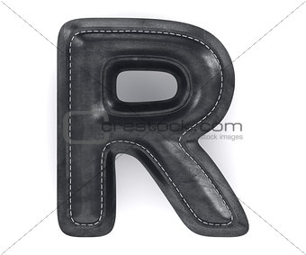 Black leather skin texture capital letter R