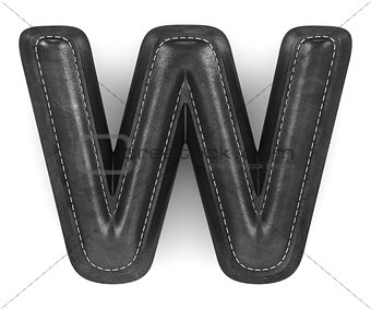 Black leather skin texture capital letter W