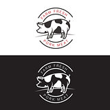 set of logos with a pig