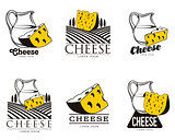 large set of various logo with cheese