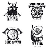 Scandinavian Viking set of logos