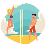 Young man and woman playing volleyball on the beach