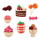 Set of sweets, cakes, cupcakes, candy, chocolate and ice cream