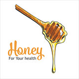Wooden honey dipper isolated on a white background