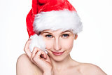Beautiful woman happy christmas in santa hat