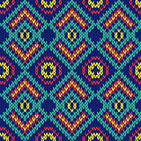 Ornate ethnic knitting motley seamless pattern mainly in blue hu