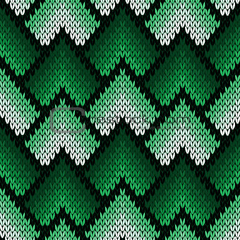 Abstract ornate knitting seamless pattern in green hues