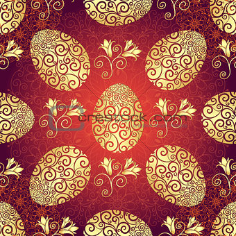 Bright red Easter pattern with eggs