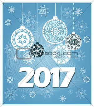 blue new year card 2017