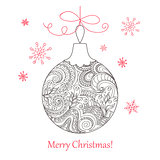 Christmas card with hand drawn decorated ball