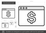 Monetization line icon.