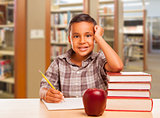 Hispanic Boy with Books, Apple, Pencil and Paper at Library