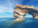 Woman jumping off cliff into the ocean.