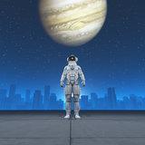 Man in costume astronaut