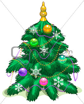 Green Christmas tree with balls and garlands