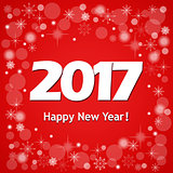 New year`s card 2017 on red