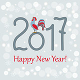 new year`s card with rooster