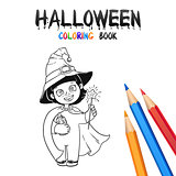 Halloween Coloring Book. Cute Baby Cartoon Character.