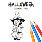 Halloween Coloring Book. Cute Baby Cartoon Character.