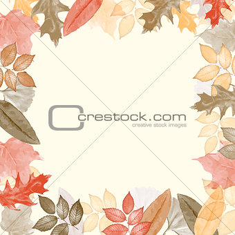 Autumn watercolor frame with leaves