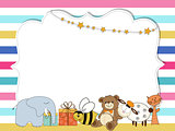 Pretty frame on color lines , template for baby shower or birthd