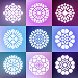 Set of Nine Vector Mandala Decorative Ornaments Illustration