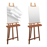 Wooden easel on a white background