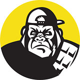 Angry Gorilla Head Baseball Cap Circle Retro