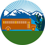 School Bus Vintage Cactus Mountains Circle Retro