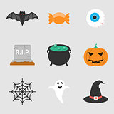 Halloween icons flat