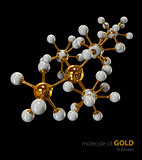 Illustration, Gold Molecule isolated black background