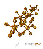 Illustration, Gold Molecule isolated white background