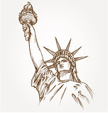 statue of liberty hand dawn