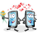 two fun mobile cartoon in love