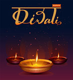 Happy Diwali festival of lights. Retro oil lamp on background night sky with stars