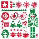 Christmas red and pattern with nutcracker - folk art style