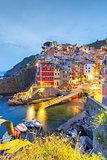 Night Riomaggiore, Cinque Terre, Liguria, Italy