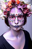Halloween Model with Rhinestones and Wreath of Flowers