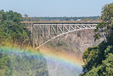 Close-up of rainbow under Victoria Falls Bridge