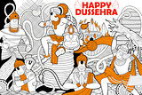 Hanuman doodle for Happy Dussehra Navratri festival of India