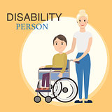 Disabled child in a wheelchair with social worker