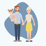 Young family with baby girl on arms vector illustration