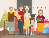 Vector illustration of Christmas family portrait
