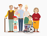 Big modern family vector illustration