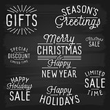 Hand drawn lettering slogans for Christmas and New Year
