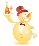Snowman-waiter with champagne gold