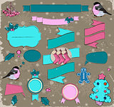 Set of Christmas elements in pink and blue.